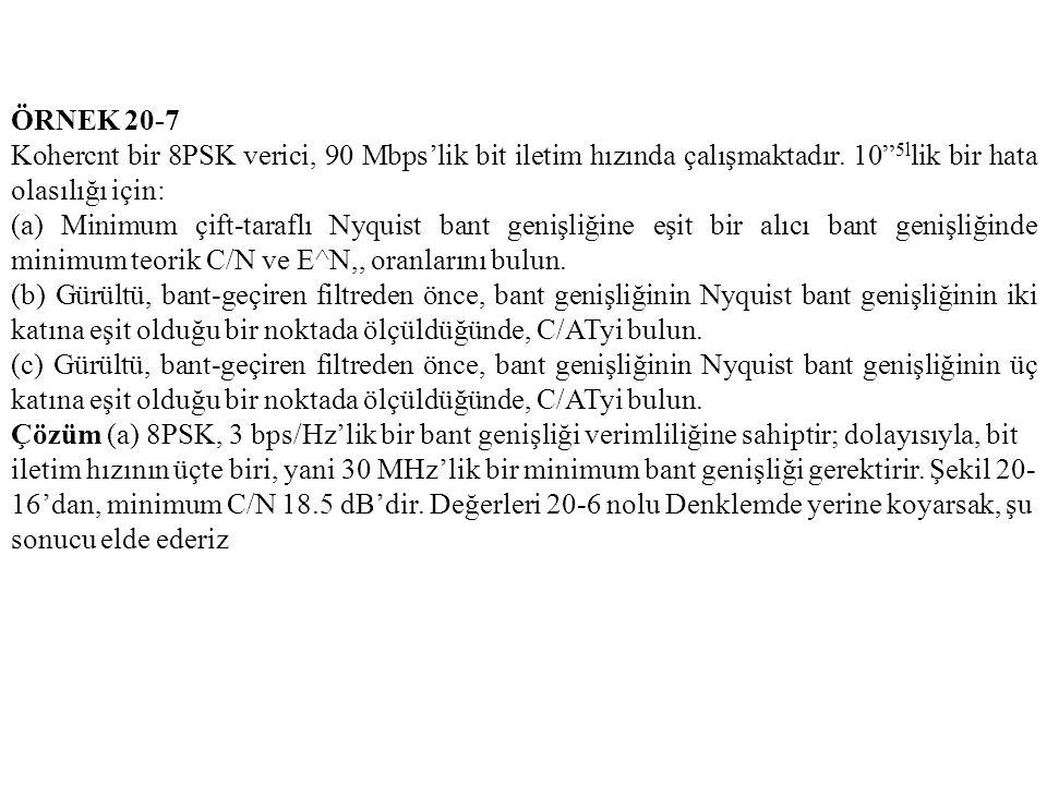 """ÖRNEK 20-7 Kohercnt bir 8PSK verici, 90 Mbps'lik bit iletim hızında çalışmaktadır. 10"""" 5l lik bir hata olasılığı için: (a) Minimum çift-taraflı Nyquis"""