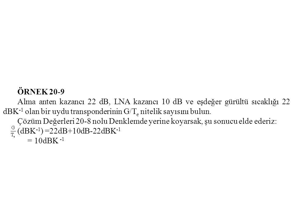 ÖRNEK 20-9 Alma anten kazancı 22 dB, LNA kazancı 10 dB ve eşdeğer gürültü sıcaklığı 22 dBK -1 olan bir uydu transponderinin G/T e nitelik sayısını bulun.