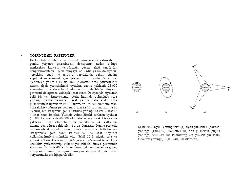 •YÖRÜNGESEL PATERNLER •Bir kez fırlatıldıktan sonra bir uydu yörüngesinde kalmaktadır, çünkü yeryüzü çevresindeki dönüşünün neden olduğu merkezkaç ku