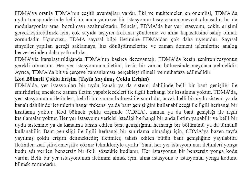 FDMA'ya oranla TDMA'nın çeşitli avantajları vardır. İlki ve muhtemelen en önemlisi, TDMA'da uydu transponderinde belli bir anda yalnızca bir istasyonu