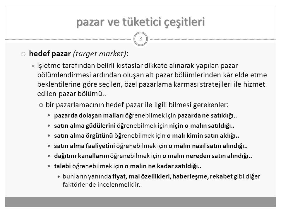 pazar ve tüketici çeşitleri  hedef pazar (target market):  işletme tarafından belirli kıstaslar dikkate alınarak yapılan pazar bölümlendirmesi ardın