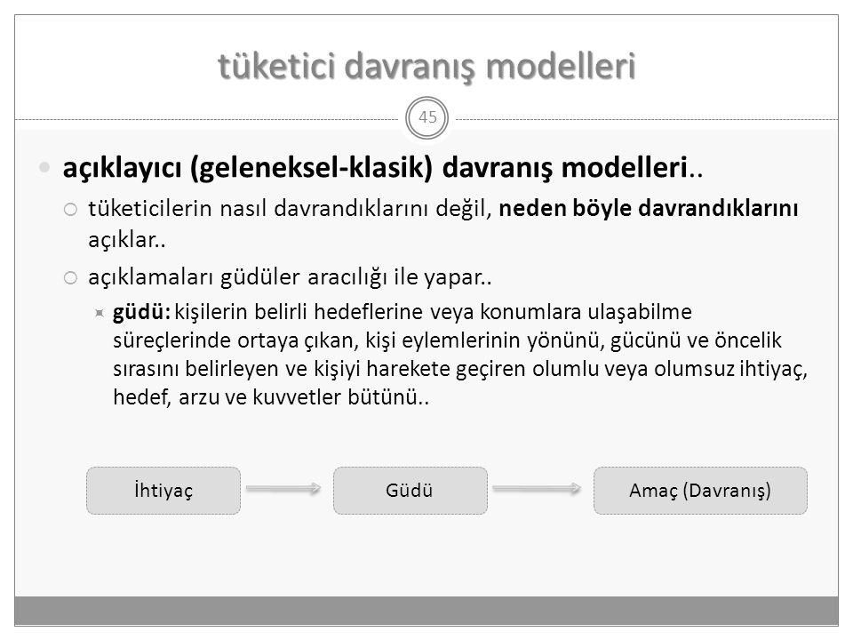 tüketici davranış modelleri 45  açıklayıcı (geleneksel-klasik) davranış modelleri..  tüketicilerin nasıl davrandıklarını değil, neden böyle davrandı