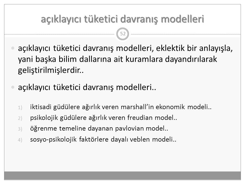 açıklayıcı tüketici davranış modelleri 52  açıklayıcı tüketici davranış modelleri, eklektik bir anlayışla, yani başka bilim dallarına ait kuramlara d