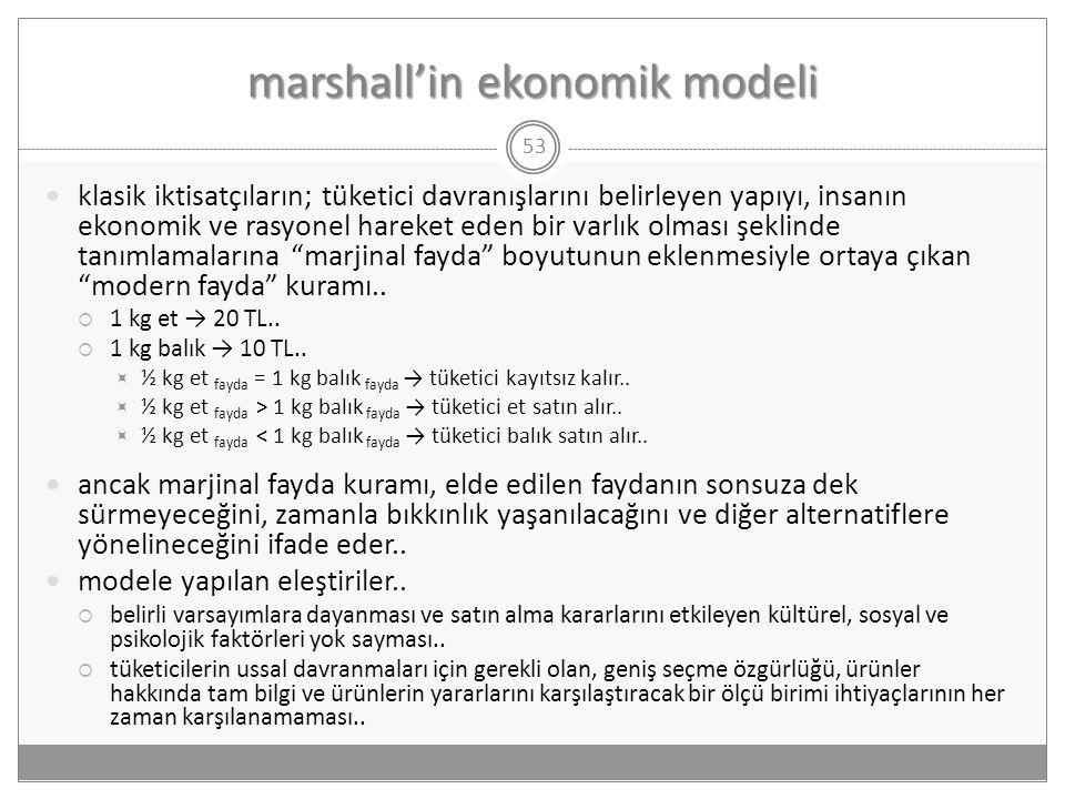 marshall'in ekonomik modeli 53  klasik iktisatçıların; tüketici davranışlarını belirleyen yapıyı, insanın ekonomik ve rasyonel hareket eden bir varlı