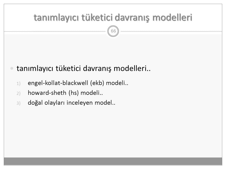 tanımlayıcı tüketici davranış modelleri 66  tanımlayıcı tüketici davranış modelleri.. 1) engel-kollat-blackwell (ekb) modeli.. 2) howard-sheth (hs) m