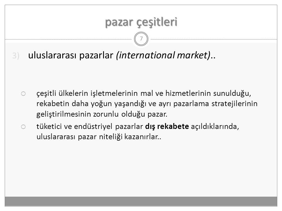 pazar çeşitleri 7 3) uluslararası pazarlar (international market)..  çeşitli ülkelerin işletmelerinin mal ve hizmetlerinin sunulduğu, rekabetin daha