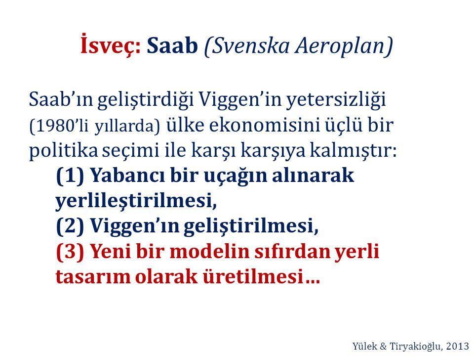 İsveç: Saab (Svenska Aeroplan) Saab'ın geliştirdiği Viggen'in yetersizliği (1980'li yıllarda) ülke ekonomisini üçlü bir politika seçimi ile karşı karş