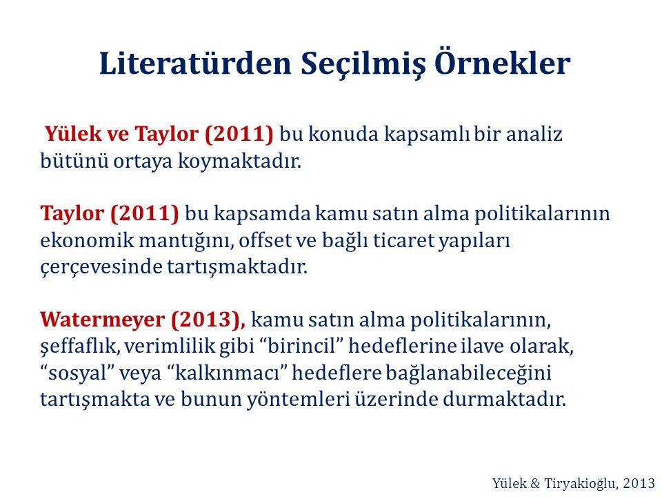 Literatürden Seçilmiş Örnekler Yülek ve Taylor (2011) bu konuda kapsamlı bir analiz bütünü ortaya koymaktadır. Taylor (2011) bu kapsamda kamu satın al