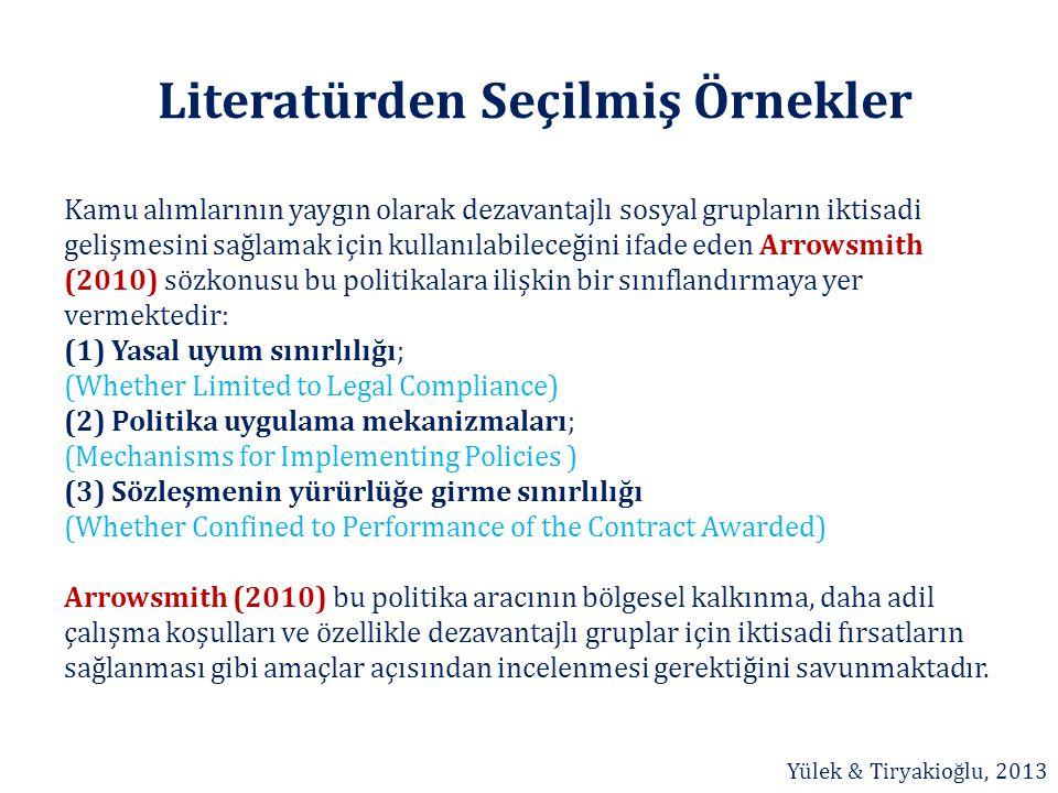 Literatürden Seçilmiş Örnekler Kamu alımlarının yaygın olarak dezavantajlı sosyal grupların iktisadi gelişmesini sağlamak için kullanılabileceğini ifa