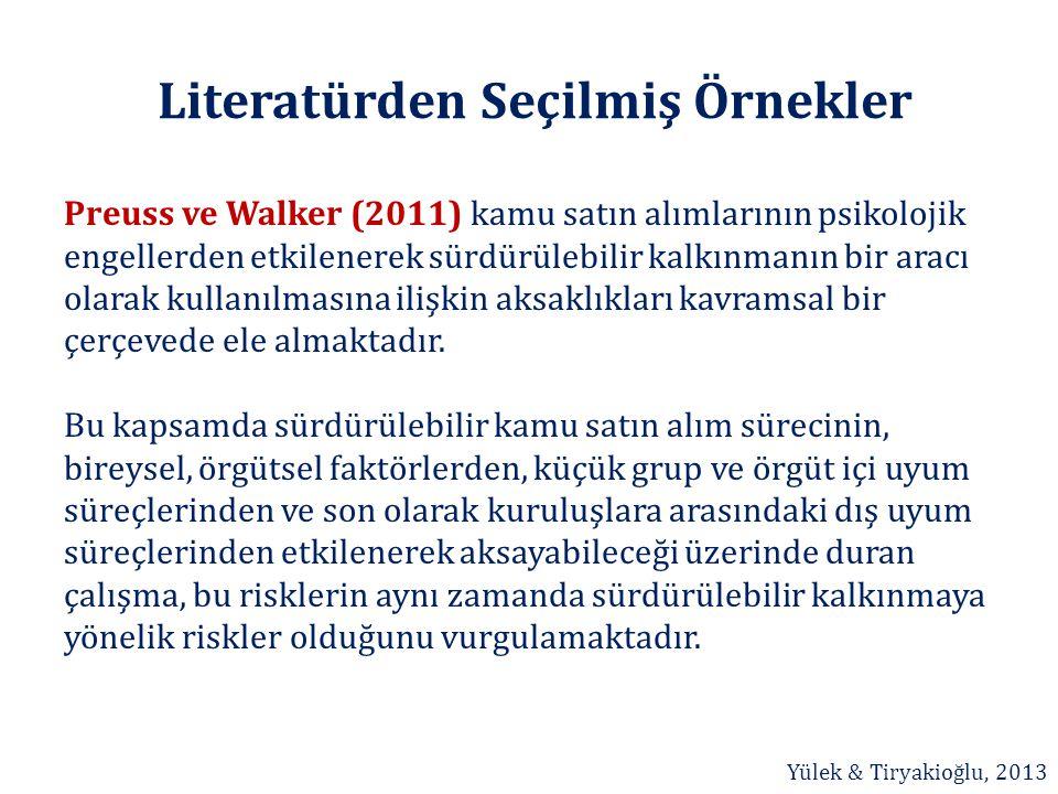 Literatürden Seçilmiş Örnekler Preuss ve Walker (2011) kamu satın alımlarının psikolojik engellerden etkilenerek sürdürülebilir kalkınmanın bir aracı
