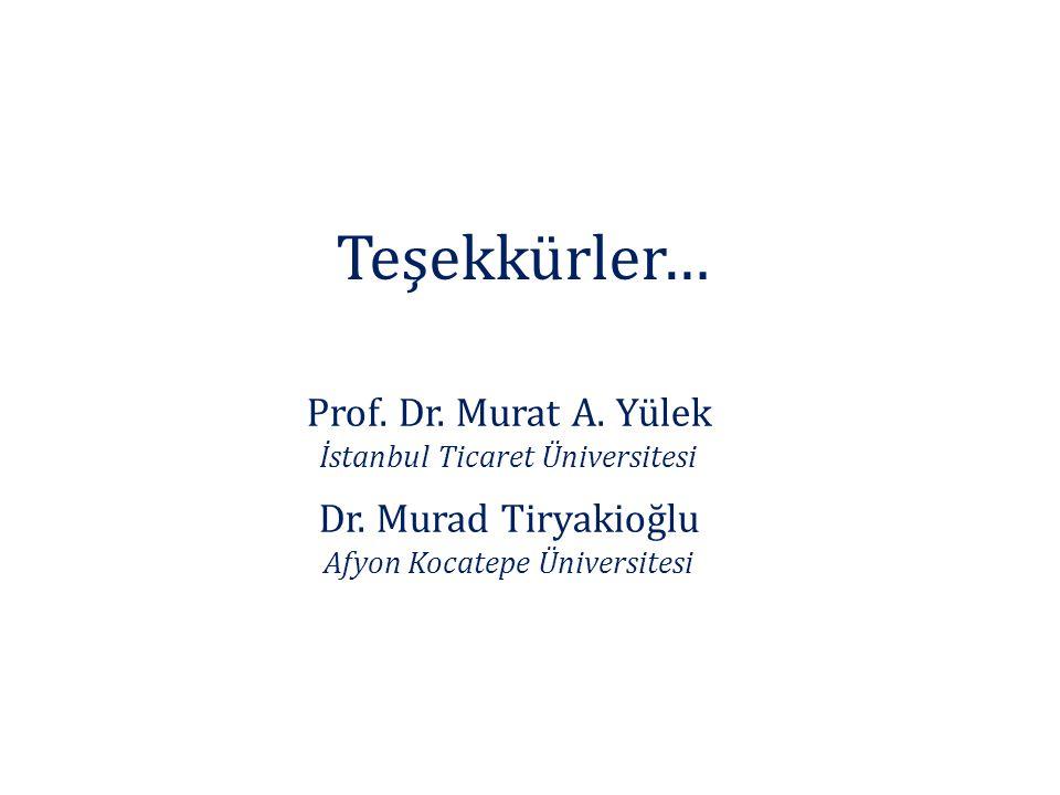 Teşekkürler… Prof. Dr. Murat A. Yülek İstanbul Ticaret Üniversitesi Dr. Murad Tiryakioğlu Afyon Kocatepe Üniversitesi