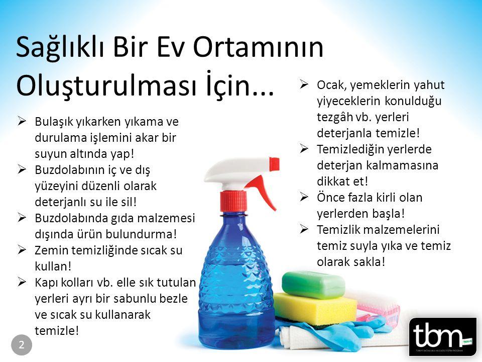 Sayfa 36-37 Sağlıklı Bir Ev Ortamının Oluşturulması İçin...  Bulaşık yıkarken yıkama ve durulama işlemini akar bir suyun altında yap!  Buzdolabının