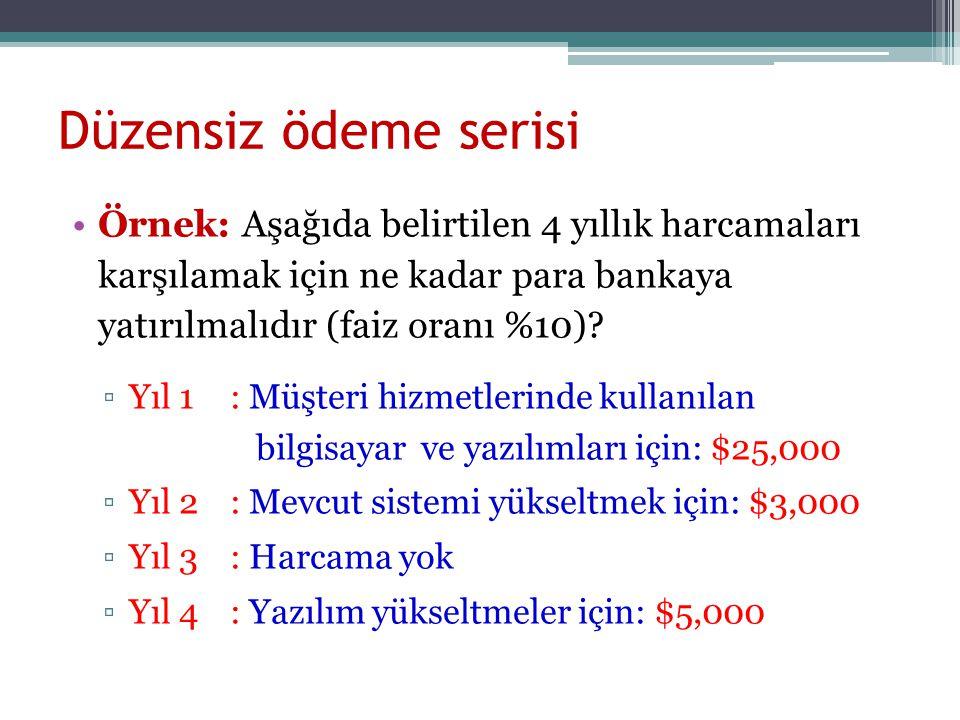 Düzensiz ödeme serisi •Örnek: Aşağıda belirtilen 4 yıllık harcamaları karşılamak için ne kadar para bankaya yatırılmalıdır (faiz oranı %10)? ▫Yıl 1: M