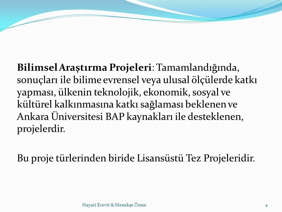 Lisansüstü Tez Projeleri (LTP): Ankara Üniversitesi'ne bağlı fakülte, enstitü ve yüksek okullarda yüksek lisans, doktora, tıpta uzmanlık ve sanatta yeterlik eğitimi programlarına yönelik olan ve öğretim programları gereğince tez danışmanlarınca yürütülen araştırma projeleridir.