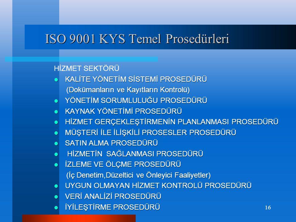 ISO 9001 KYS Temel Prosedürleri ISO 9001 KYS Temel Prosedürleri HİZMET SEKTÖRÜ  KALİTE YÖNETİM SİSTEMİ PROSEDÜRÜ (Dokümanların ve Kayıtların Kontrolü