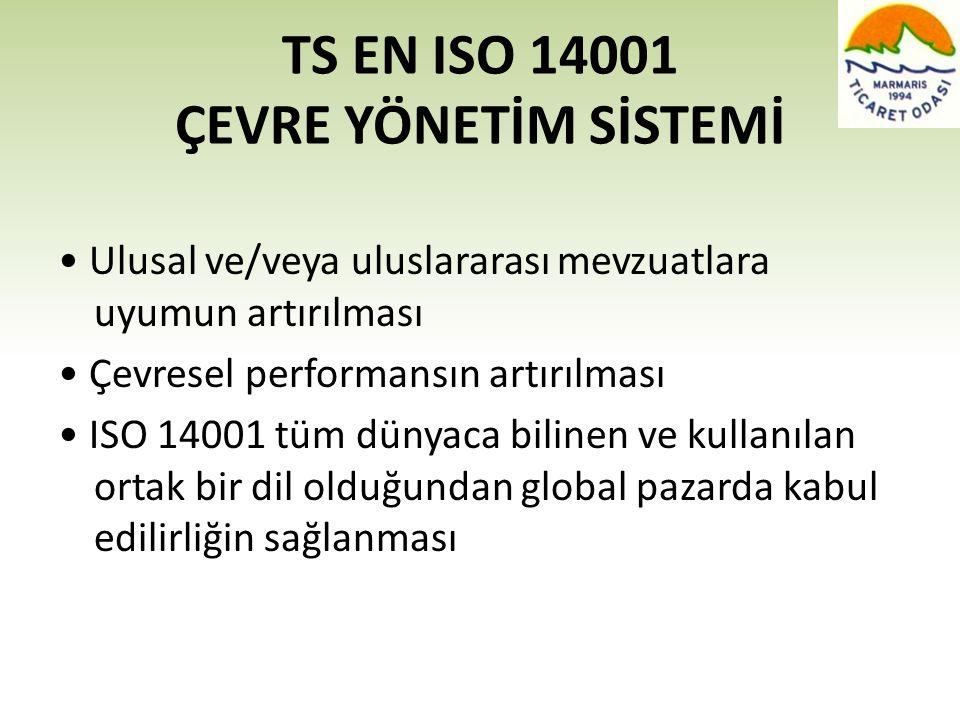 TS EN ISO 14001 ÇEVRE YÖNETİM SİSTEMİ • Ulusal ve/veya uluslararası mevzuatlara uyumun artırılması • Çevresel performansın artırılması • ISO 14001 tüm