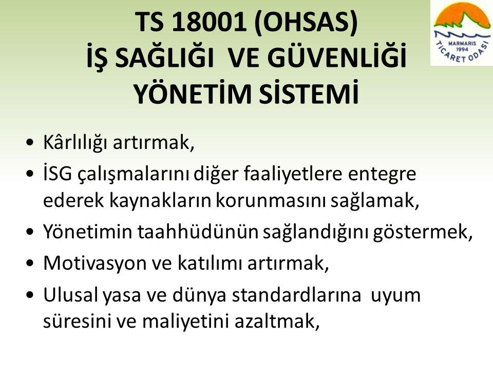 TS 18001 (OHSAS) İŞ SAĞLIĞI VE GÜVENLİĞİ YÖNETİM SİSTEMİ •Kârlılığı artırmak, •İSG çalışmalarını diğer faaliyetlere entegre ederek kaynakların korunma