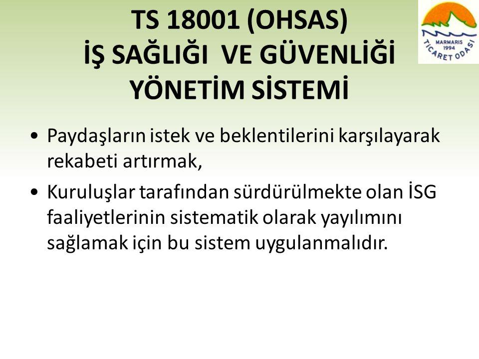 TS 18001 (OHSAS) İŞ SAĞLIĞI VE GÜVENLİĞİ YÖNETİM SİSTEMİ •Paydaşların istek ve beklentilerini karşılayarak rekabeti artırmak, •Kuruluşlar tarafından s