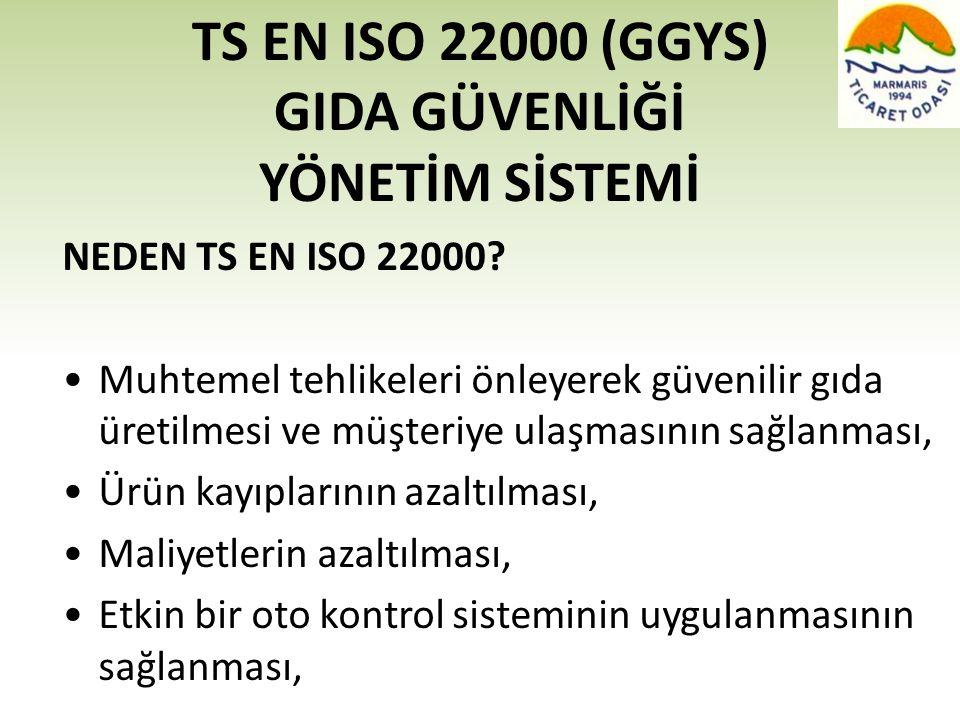 TS EN ISO 22000 (GGYS) GIDA GÜVENLİĞİ YÖNETİM SİSTEMİ NEDEN TS EN ISO 22000? •Muhtemel tehlikeleri önleyerek güvenilir gıda üretilmesi ve müşteriye ul