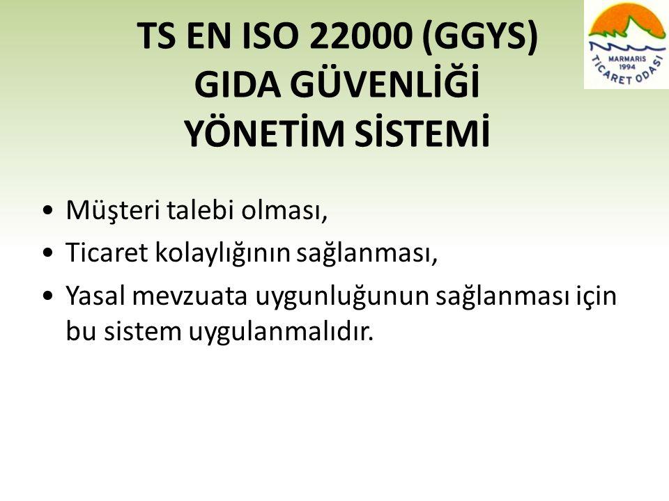 TS EN ISO 22000 (GGYS) GIDA GÜVENLİĞİ YÖNETİM SİSTEMİ •Müşteri talebi olması, •Ticaret kolaylığının sağlanması, •Yasal mevzuata uygunluğunun sağlanmas