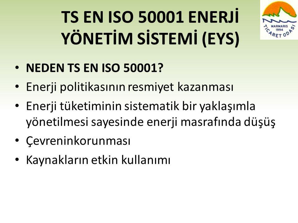 TS EN ISO 50001 ENERJİ YÖNETİM SİSTEMİ (EYS) • NEDEN TS EN ISO 50001? • Enerji politikasının resmiyet kazanması • Enerji tüketiminin sistematik bir ya