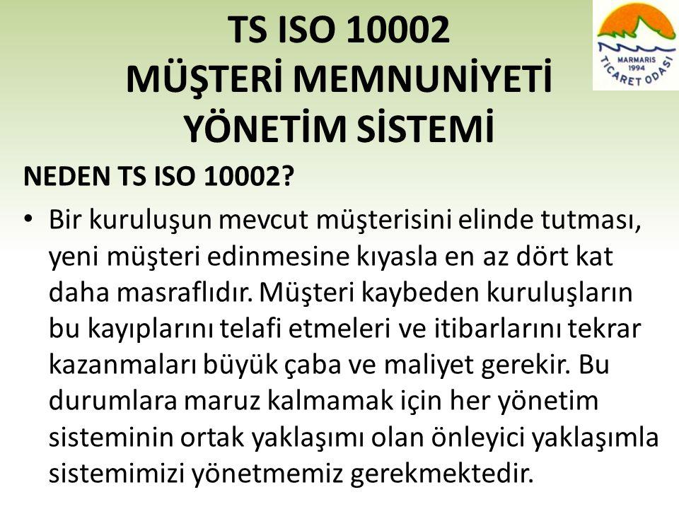 TS ISO 10002 MÜŞTERİ MEMNUNİYETİ YÖNETİM SİSTEMİ NEDEN TS ISO 10002? • Bir kuruluşun mevcut müşterisini elinde tutması, yeni müşteri edinmesine kıyasl