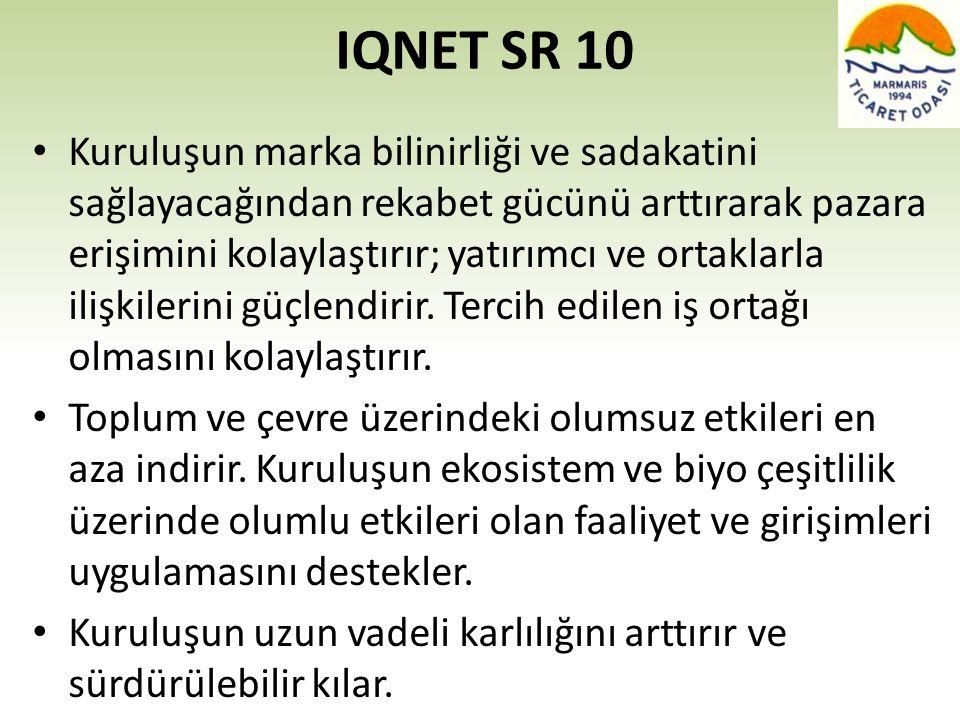 IQNET SR 10 • Kuruluşun marka bilinirliği ve sadakatini sağlayacağından rekabet gücünü arttırarak pazara erişimini kolaylaştırır; yatırımcı ve ortakla