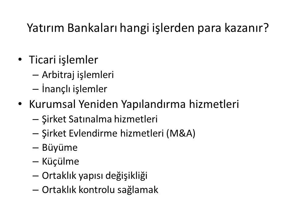 Yatırım Bankaları hangi işlerden para kazanır? • Birincil Piyasa işlemlerinden – Özel Kurumların finasman işlemleri – Kamu Kurumları finasman işlemler