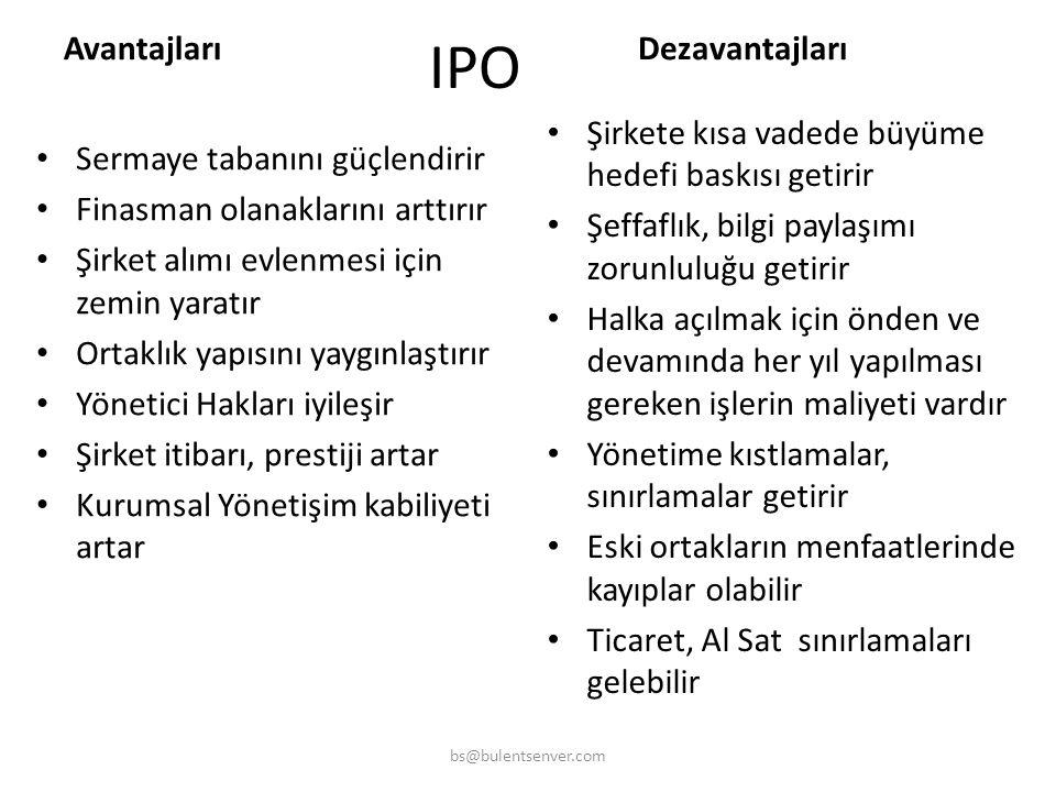 Niçin IPO ? • Şirketin hızlı büyüme ihtiyacı varsa • Yeni bir büyük yatırım için sermaye ihtiyacı varsa • Büyüme için faizsiz finasman ihtiyacı varsa