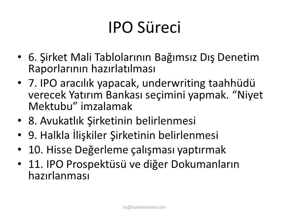 IPO Süreci • 1. IPO Ekibi oluşturmak (Şirket içi ve dışı) • 2. IPO ihtiyacı niçin var? Sonuçlarının Şirkete yararı ne olacak? Belirlenmesi • 3. IPO so