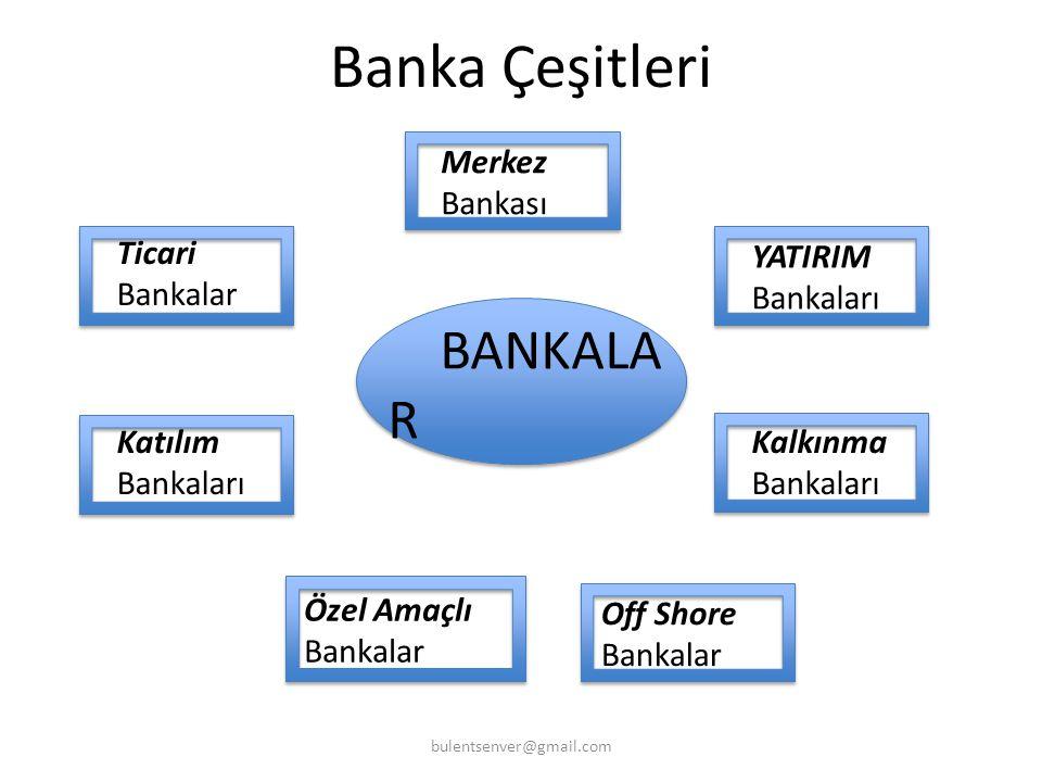 Banka Çeşitleri bulentsenver@gmail.com Ticari Bankalar YATIRIM Bankaları Kalkınma Bankaları Katılım Bankaları Merkez Bankası Özel Amaçlı Bankalar Off Shore Bankalar BANKALA R