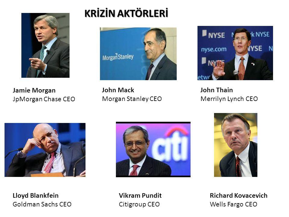 KRİZİN AKTÖRLERİ Ben Bernanke FED Başkanı Richard Paulson Hazine Bakanı Goldman Sachs Eski CEO Richard Fuld Lehman Brothers CEO George Walker Bush ABD