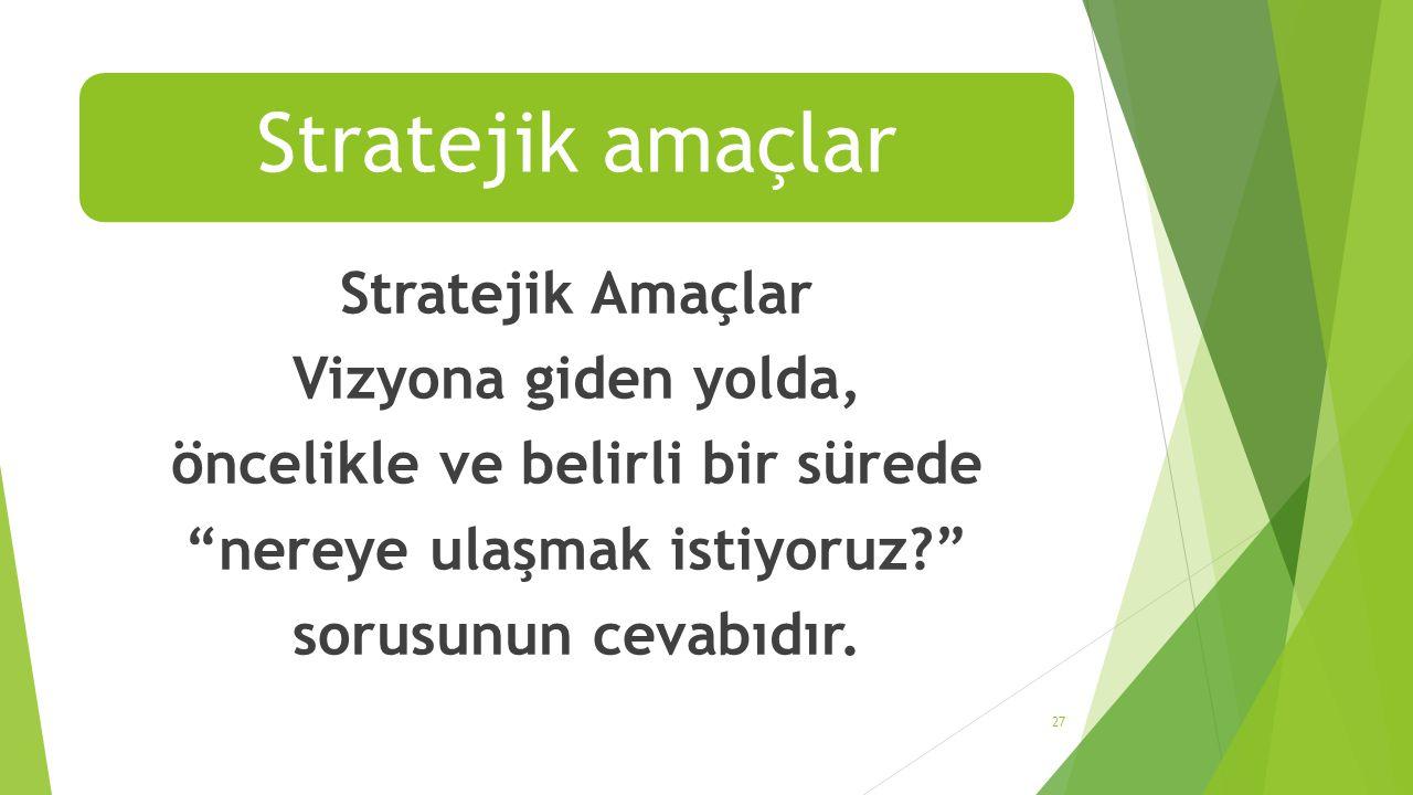 """Stratejik amaçlar Stratejik Amaçlar Vizyona giden yolda, öncelikle ve belirli bir sürede """"nereye ulaşmak istiyoruz?"""" sorusunun cevabıdır. 27"""