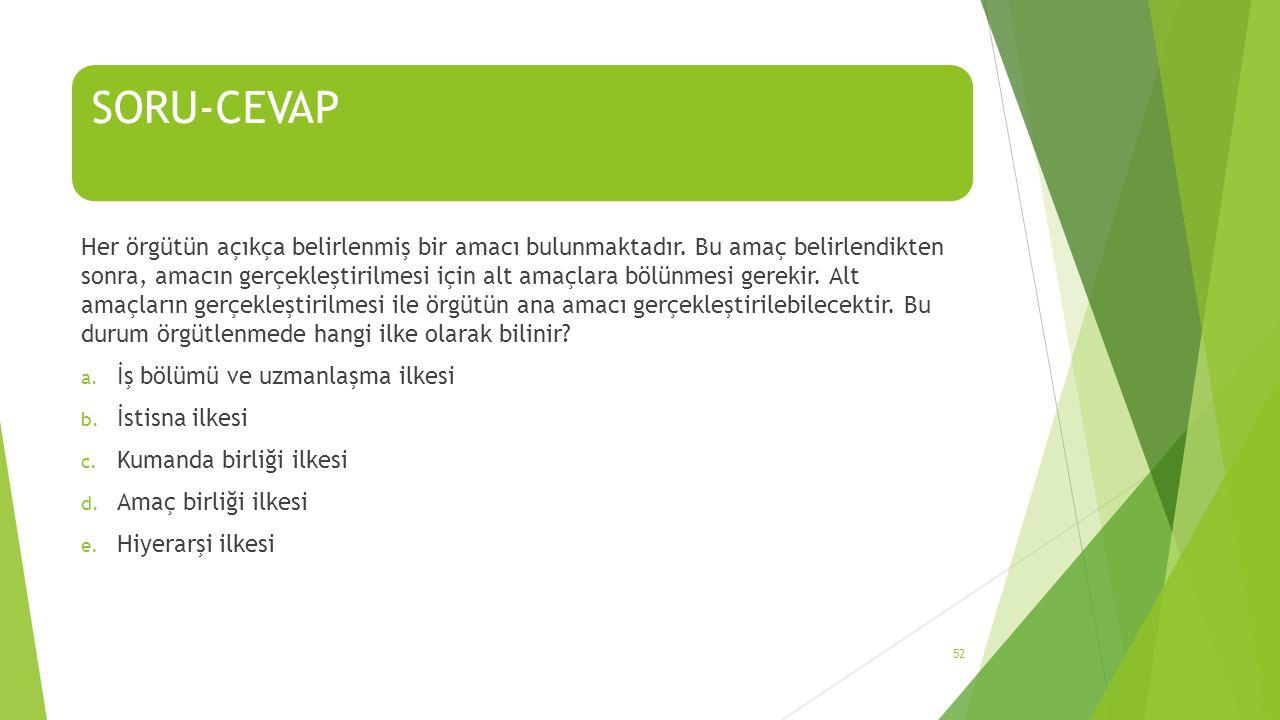 SORU-CEVAP Her örgütün açıkça belirlenmiş bir amacı bulunmaktadır. Bu amaç belirlendikten sonra, amacın gerçekleştirilmesi için alt amaçlara bölünmesi