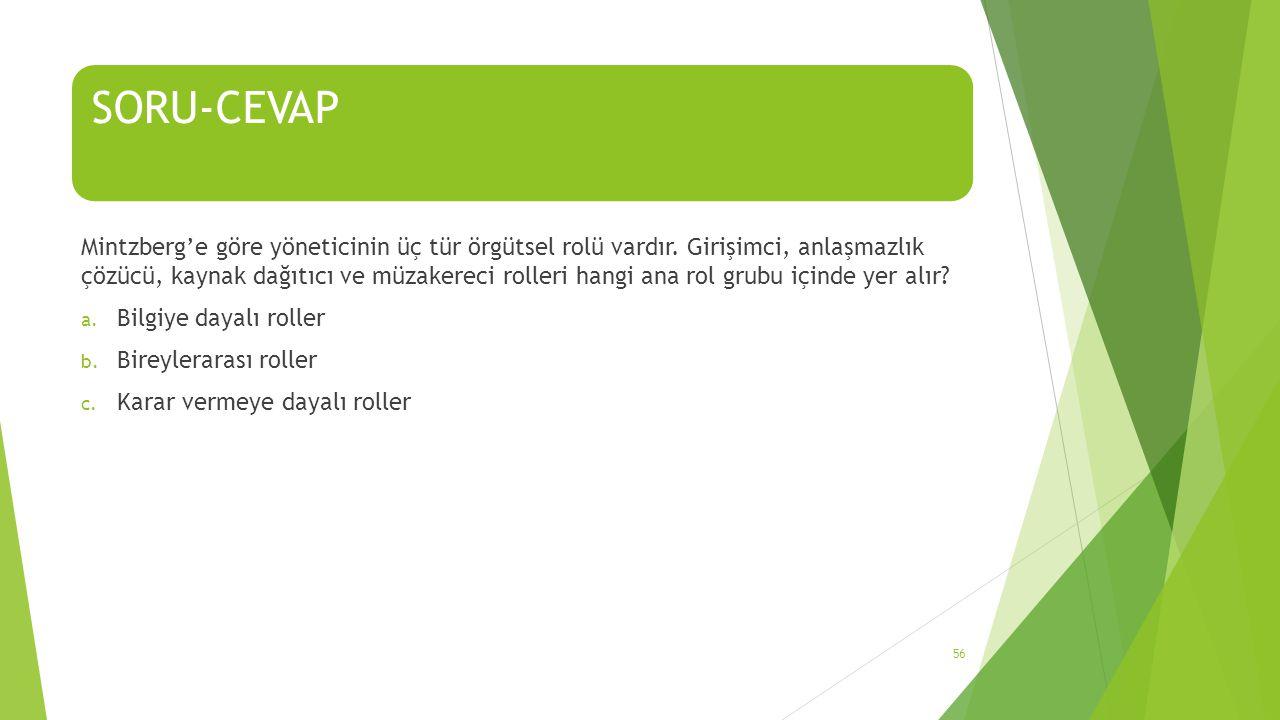 SORU-CEVAP Mintzberg'e göre yöneticinin üç tür örgütsel rolü vardır.