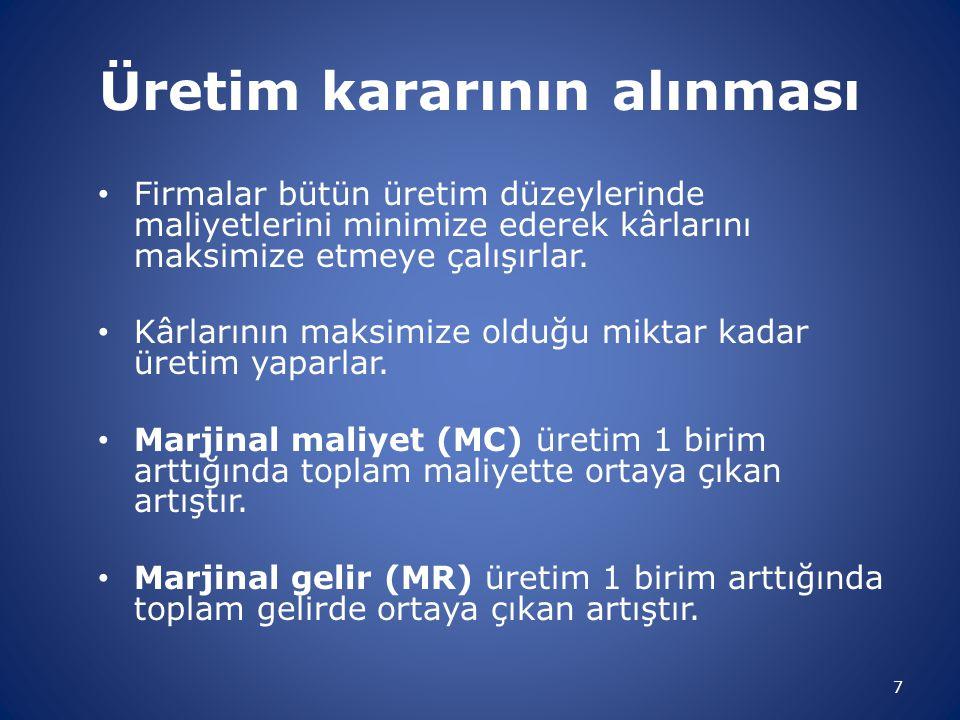 Kârın maksimize olduğu nokta 8 Üretim miktarı Q1Q1 E MC, MR MC MR 0 MR > MC iken, üretimin artması kârı arttırır.