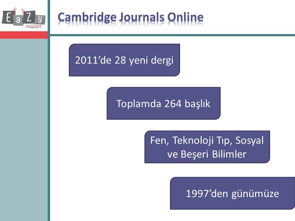 2011'de 28 yeni dergi Toplamda 264 başlık Fen, Teknoloji Tıp, Sosyal ve Beşeri Bilimler 1997'den günümüze