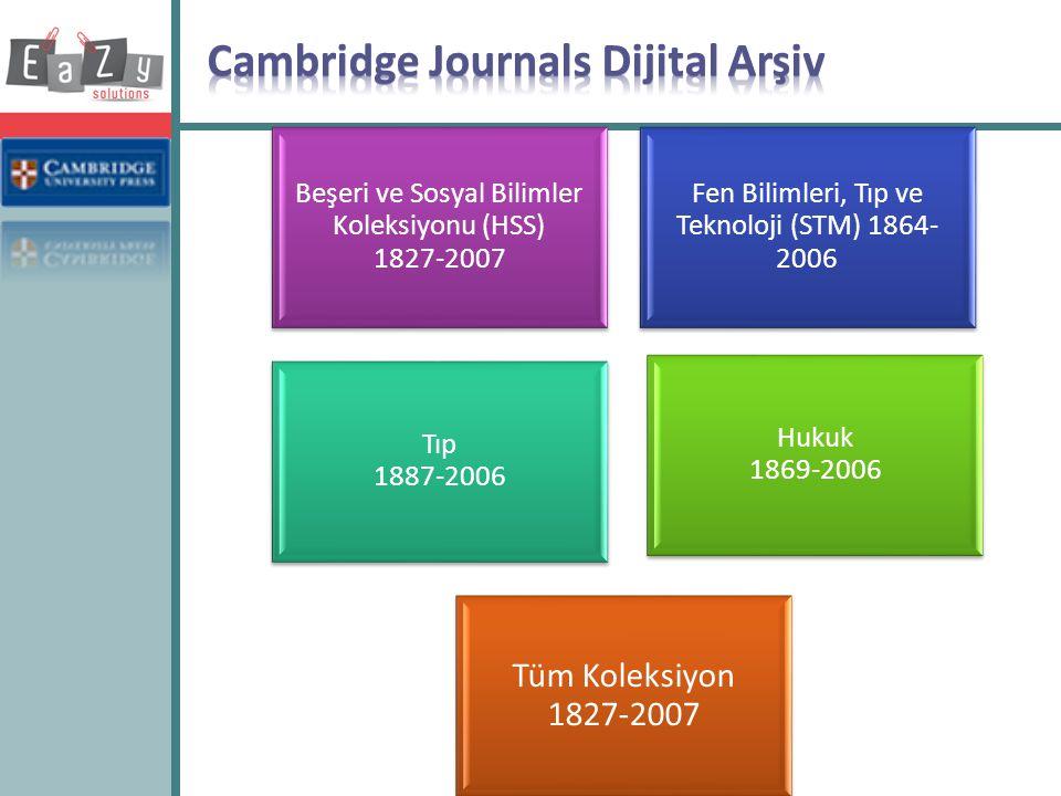 Beşeri ve Sosyal Bilimler Koleksiyonu (HSS) 1827-2007 Fen Bilimleri, Tıp ve Teknoloji (STM) 1864- 2006 Tıp 1887-2006 Hukuk 1869-2006 Tüm Koleksiyon 18