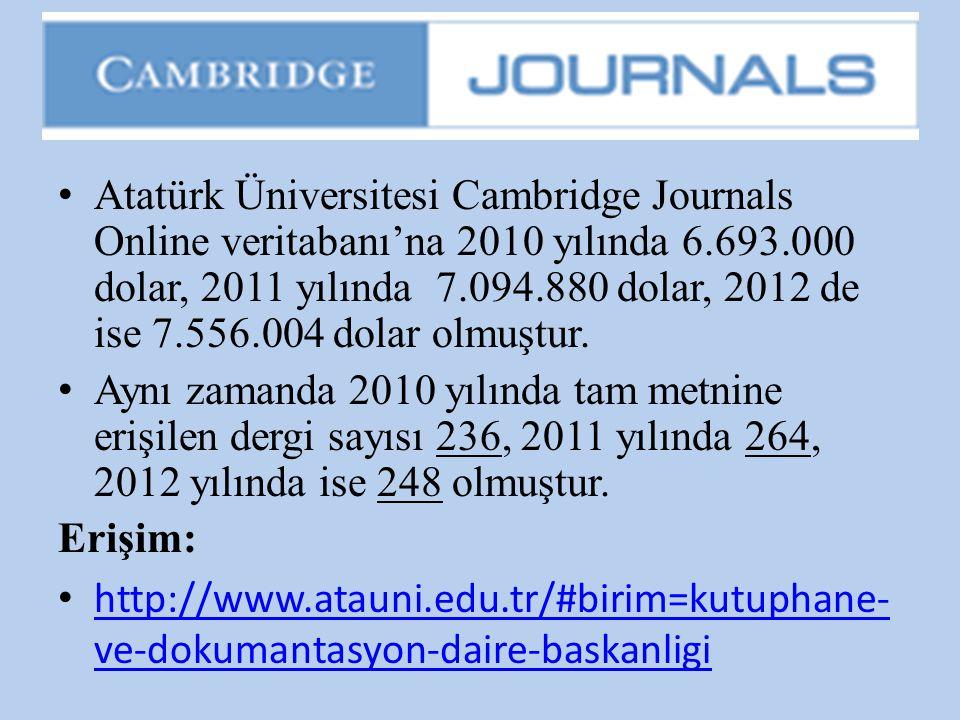 • Atatürk Üniversitesi Cambridge Journals Online veritabanı'na 2010 yılında 6.693.000 dolar, 2011 yılında 7.094.880 dolar, 2012 de ise 7.556.004 dolar