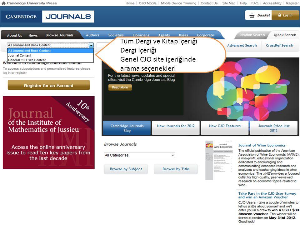 Tüm Dergi ve Kitap İçeriği Dergi İçeriği Genel CJO site içeriğinde arama seçenekleri