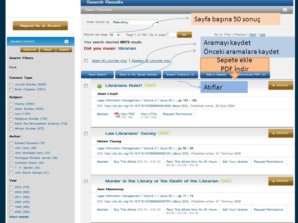 Aramayı kaydet Önceki aramalara kaydet Atıflar Sepete ekle PDF İndir Sayfa başına 50 sonuç