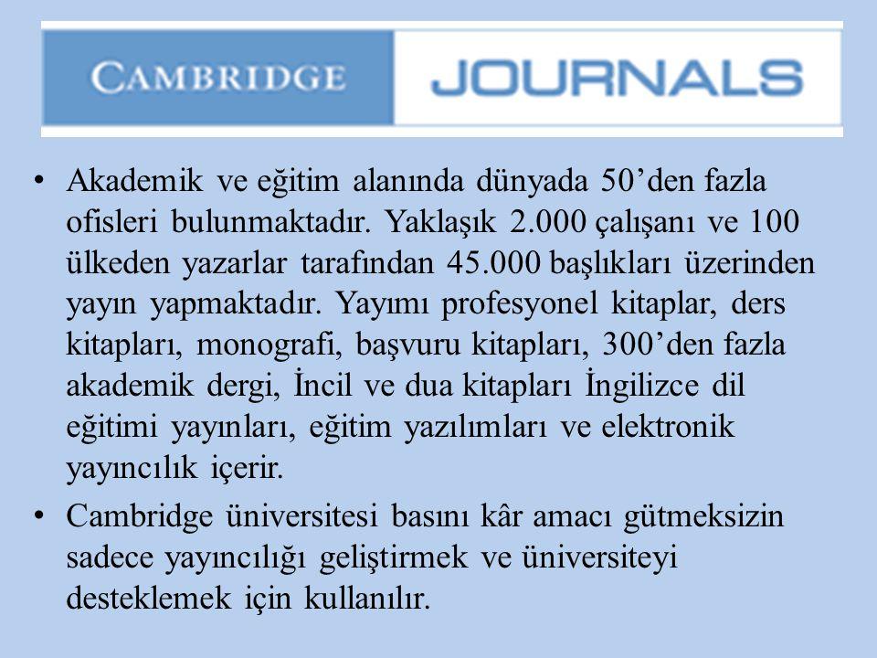 • Akademik ve eğitim alanında dünyada 50'den fazla ofisleri bulunmaktadır. Yaklaşık 2.000 çalışanı ve 100 ülkeden yazarlar tarafından 45.000 başlıklar