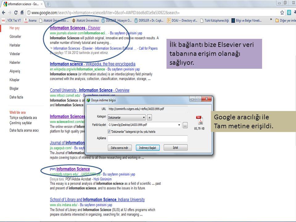 İlk bağlantı bize Elsevier veri tabanına erişim olanağı sağlıyor. Google aracılığı ile Tam metine erişildi.