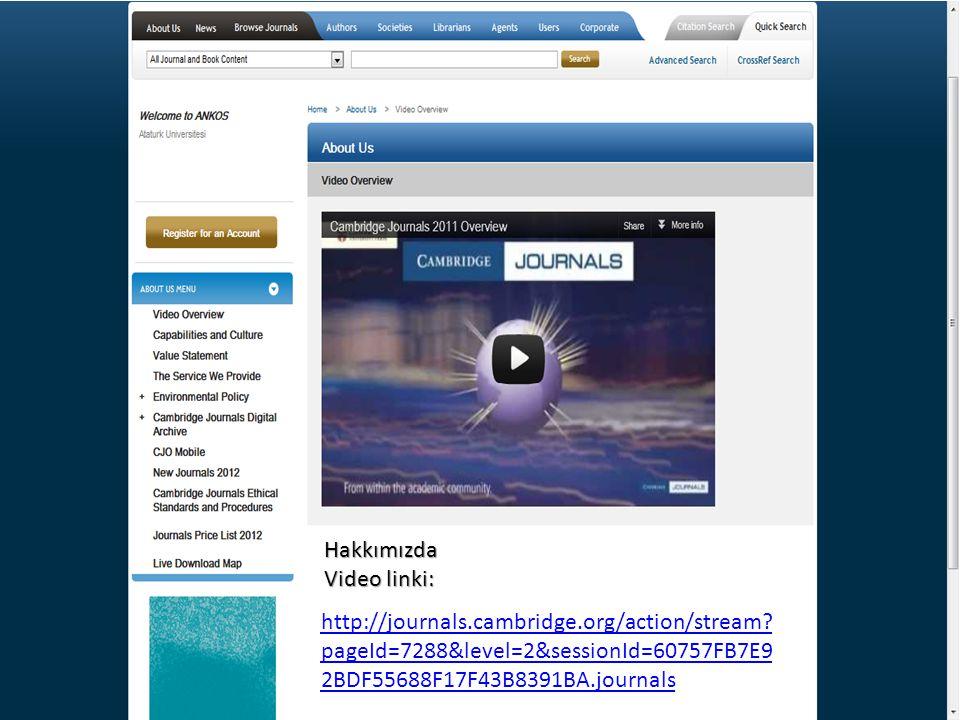 Hakkımızda Video linki: http://journals.cambridge.org/action/stream? pageId=7288&level=2&sessionId=60757FB7E9 2BDF55688F17F43B8391BA.journals