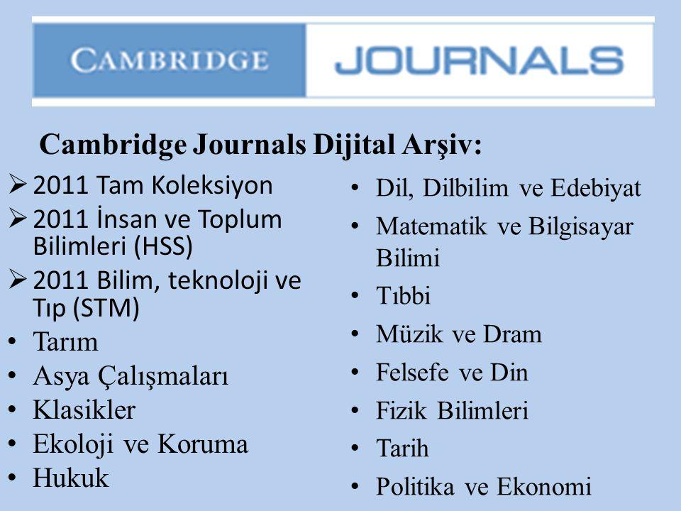  2011 Tam Koleksiyon  2011 İnsan ve Toplum Bilimleri (HSS)  2011 Bilim, teknoloji ve Tıp (STM) • Tarım • Asya Çalışmaları • Klasikler • Ekoloji ve
