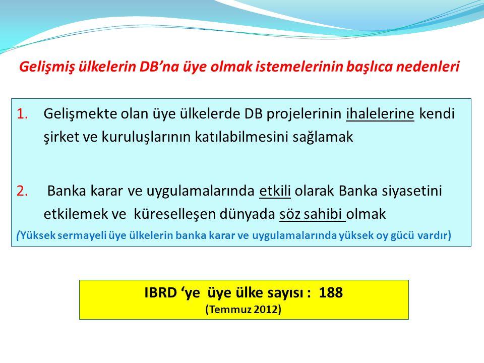 Gelişmiş ülkelerin DB'na üye olmak istemelerinin başlıca nedenleri 1. Gelişmekte olan üye ülkelerde DB projelerinin ihalelerine kendi şirket ve kurulu