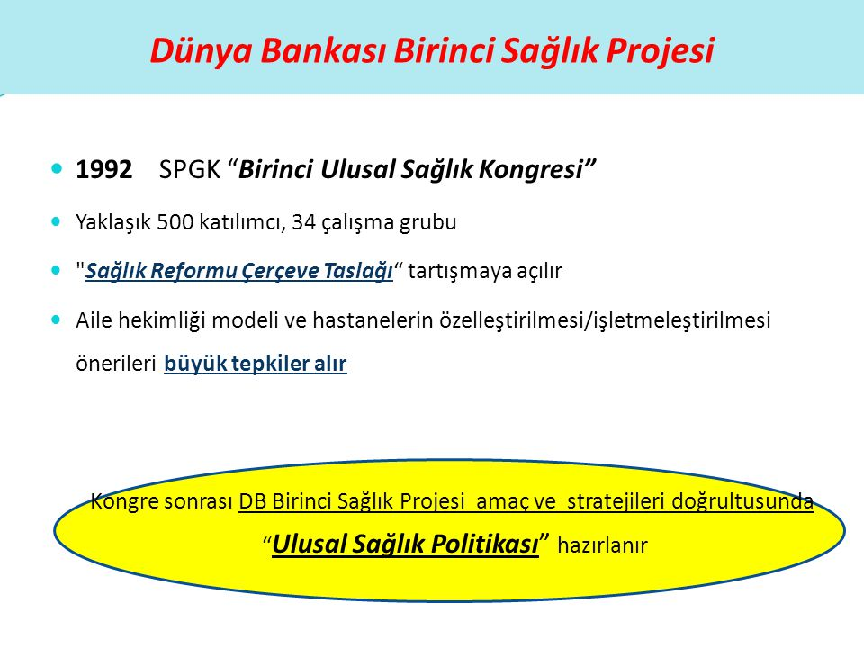 """Dünya Bankası Birinci Sağlık Projesi  1992 SPGK """"Birinci Ulusal Sağlık Kongresi""""  Yaklaşık 500 katılımcı, 34 çalışma grubu """