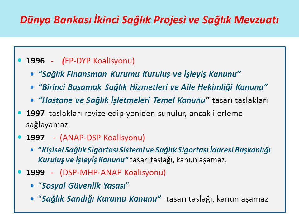 """Dünya Bankası İkinci Sağlık Projesi ve Sağlık Mevzuatı  1996 - (FP-DYP Koalisyonu)  """"Sağlık Finansman Kurumu Kuruluş ve İşleyiş Kanunu""""  """"Birinci B"""