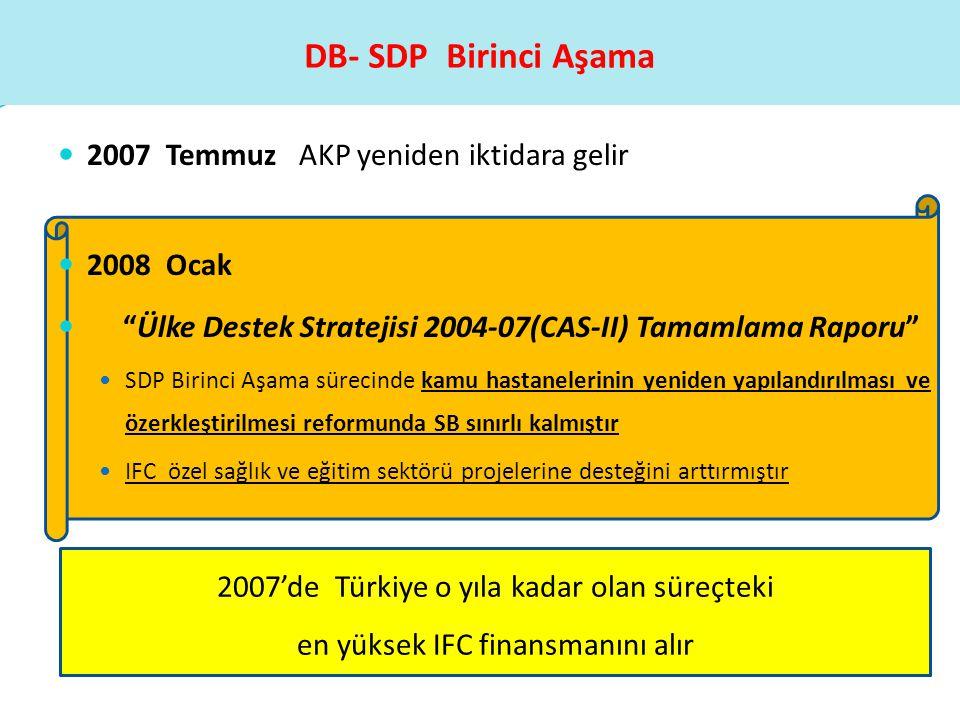 """ 2007 Temmuz AKP yeniden iktidara gelir  2008 Ocak  """"Ülke Destek Stratejisi 2004-07(CAS-II) Tamamlama Raporu""""  SDP Birinci Aşama sürecinde kamu ha"""