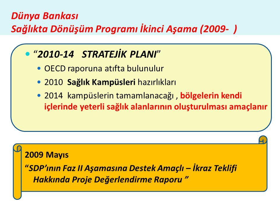 """Dünya Bankası Sağlıkta Dönüşüm Programı İkinci Aşama (2009- )  """"2010-14 STRATEJİK PLANI""""  OECD raporuna atıfta bulunulur  2010 Sağlık Kampüsleri ha"""